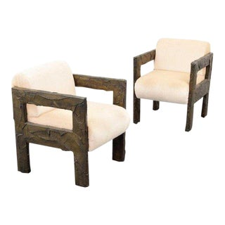 Paul Evans Sculpted Bronze Lounge Chairs - a Pair For Sale