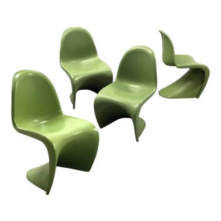 Vintage Lime Green Verner Panton Style Chairs — Set of 4 For Sale