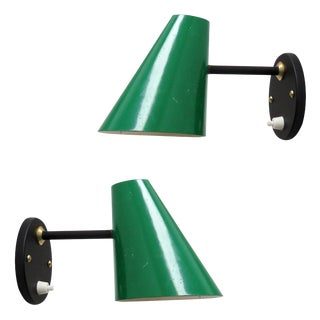 Green Jacques Biny Wall Lamps, 1950 - a Pair