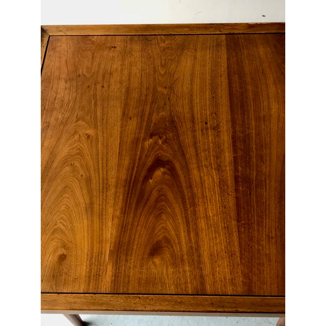 This Drexel Heritage oak side table features a caned shelf for a perfect midcentury look.