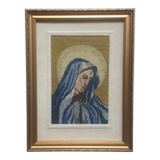 Vintage Framed Madonna Pettipoint For Sale