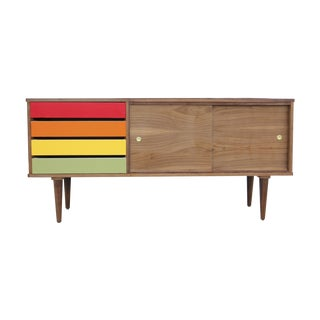 Walnut Credenza With Rainbow Drawers For Sale