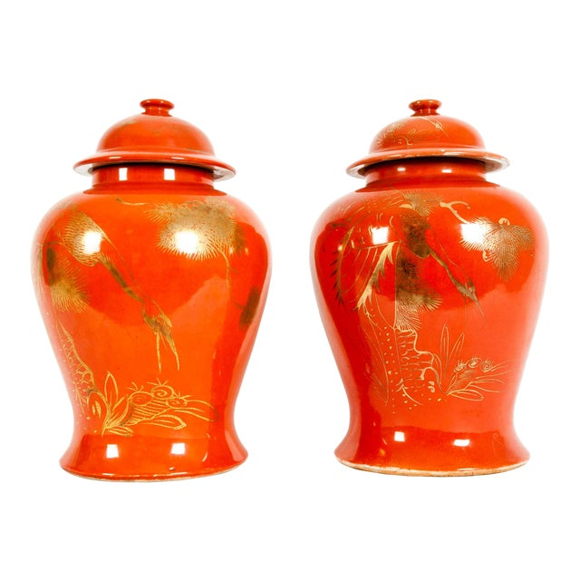 Oriental Porcelain Decorative Covered Urns - a Pair For Sale