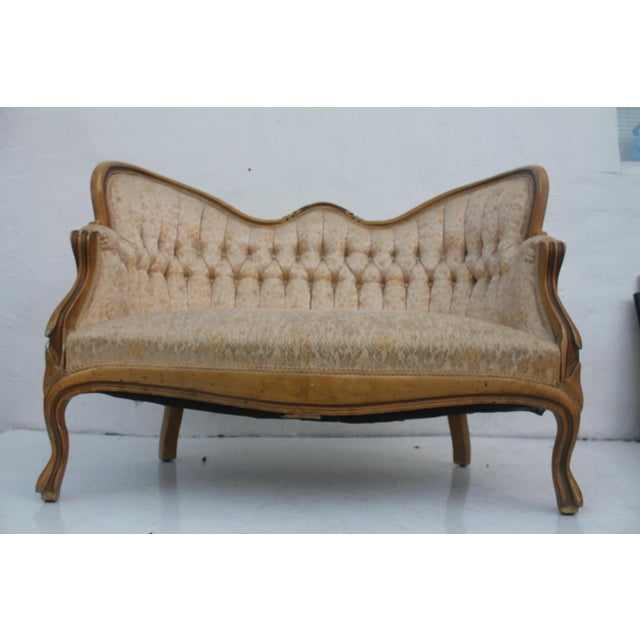 French Antique Carved Loveseat - Image 4 of 11