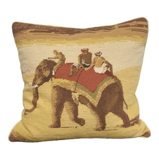 Needlepoint Desert Elephant Pillow For Sale
