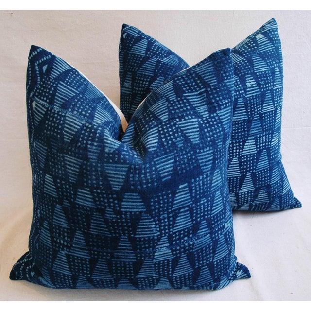 Boho Chic Indigo African Mali Mud Cloth Tribal Pillows - a Pair - Image 2 of 11