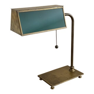 Vintage Rectangular Brass and Green Glass Bankers Lamp For Sale