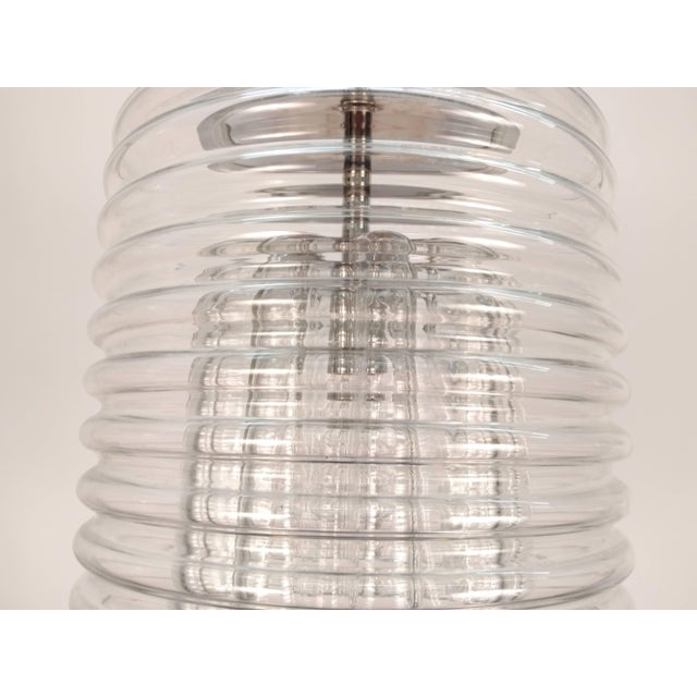 1960s Clear Ribbed Glass Pendant For Sale - Image 5 of 9
