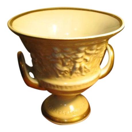 Vintage Von Schiermolz Large Urn With Gold Trim & Handles For Sale