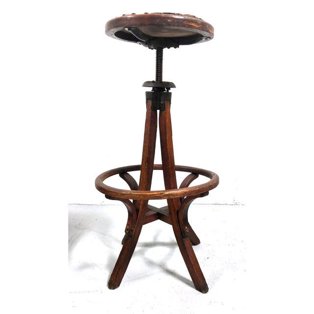 Arts & Crafts Antique Architectural Industrial Oak Drafting Stool For Sale - Image 3 of 13