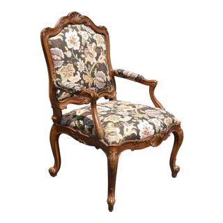 1970's Vintage Heritage French Provincial Brown Floral Bergere Chair For Sale