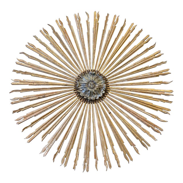 Italian Gilt Wood Sunburst Tuscan Wall Art Hanging For Sale