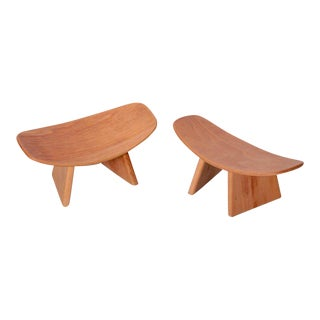 Pair of French Meditation Wood Shoggi Stool by Alain Gaubert, Beechwood, 1980s For Sale