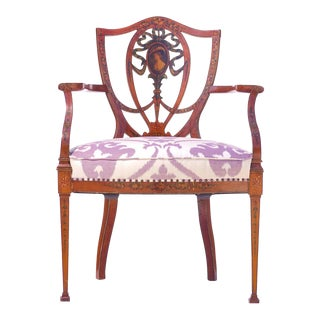 19th C. English Painted Satinwood Armchair For Sale