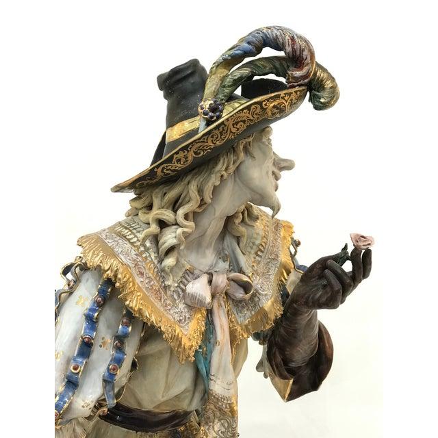 Eugenio Pattarino Monumental Early 20th Century Professor E. Pattarino Italian Polychrome and Gilt Terracotta Majolica Cyrano De Bergerac Statue For Sale - Image 4 of 13