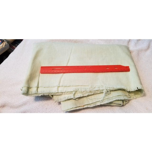 Pale Green Linen Vintage Fabric For Sale - Image 4 of 9