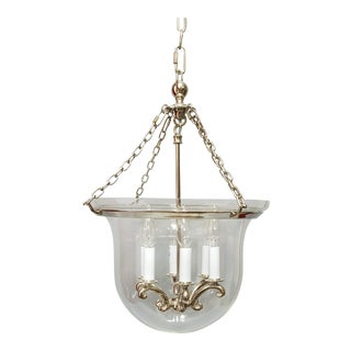 Country Medium Bell Jar Lantern in Polished Nickel by E.F Chapman for Visual Comfort For Sale
