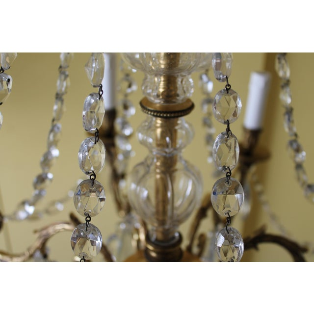 Gold 19th Century Maison Bagues Palm Motif Eight Light Crystal & Bronze Chandelier = Neoclassical Style For Sale - Image 8 of 13