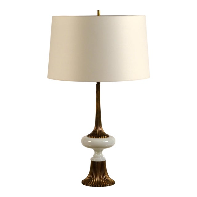 Elegant Gilt Bronze and Opaline Tassel Lamp in the Style of Tony Duquette For Sale