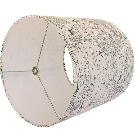 Contemporary New, Made to Order, Large Drum Lamp Shade, Air Traffic Maps Fabric in Gray and Off-White For Sale - Image 3 of 3