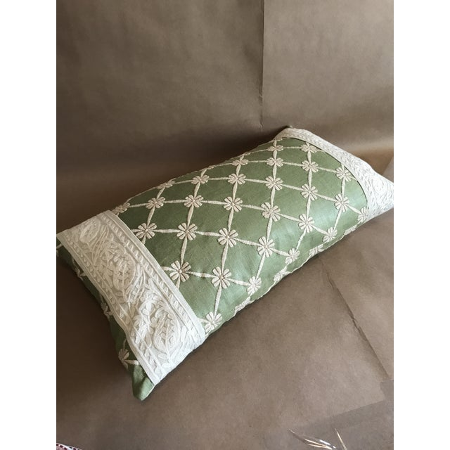 Transitional Green Pillow W/ Natural Embroidered Flower Lattice For Sale - Image 10 of 11
