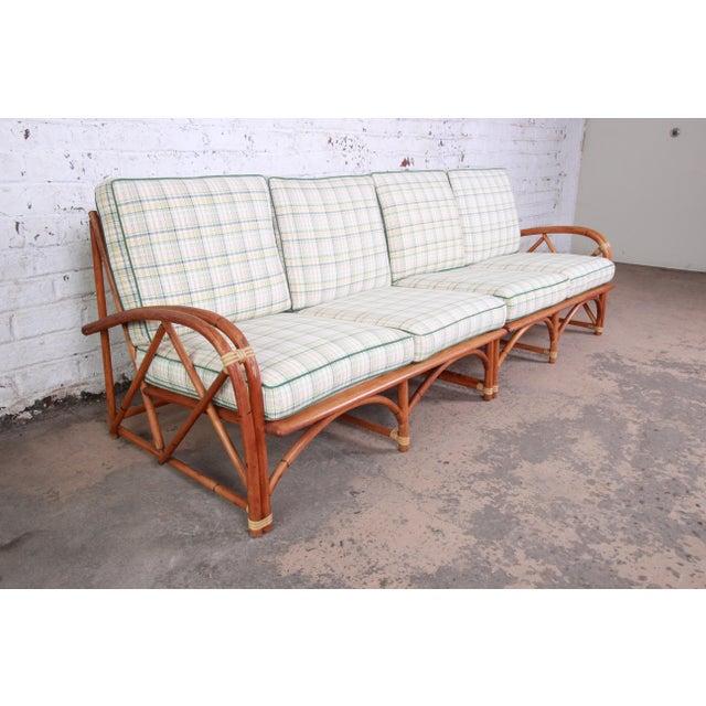 Boho Chic Heywood Wakefield Hollywood Regency Mid-Century Modern Rattan Sofa For Sale - Image 3 of 13