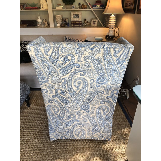 Wood Ralph Lauren Blue Paisley Custom Upholstered Hickory White Club Chair For Sale - Image 7 of 10
