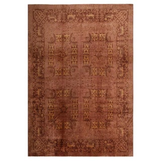 Antique Eggplant Pink and Brown Wool Floral Rug - 9′3″ × 13′6″ For Sale