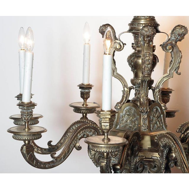 Ornate 19th Century French 8-Light Bronze Chandelier with Cherubs and Faces - Image 7 of 10