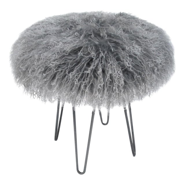 Curly Hairpin Stool Tipped Grey For Sale