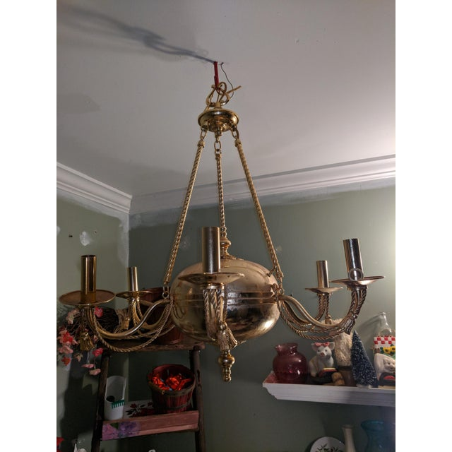 French Provincial Vintage Solid Brass Rope and Tassels Chandelier For Sale - Image 3 of 10