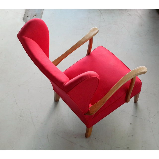 Mid-Century Modern Danish Midcentury Wingback Lounge Chair Attributed to Fritz Hansen For Sale - Image 3 of 10