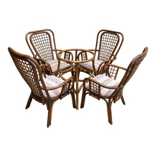 Vintage Boho Chic Woven Back Rattan Bamboo Dining Chairs - 5 Pieces For Sale