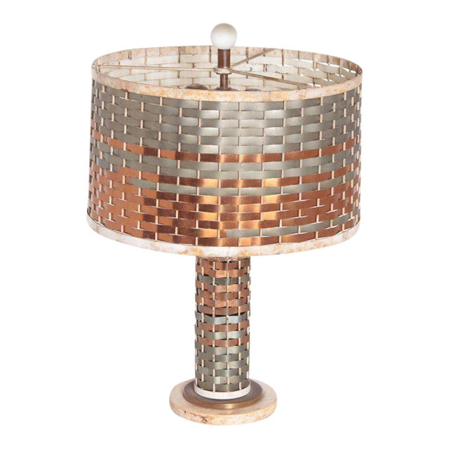 Machine Age Art Deco Sandel Table Lamp, Mixed Metal, Lacquered Wood For Sale