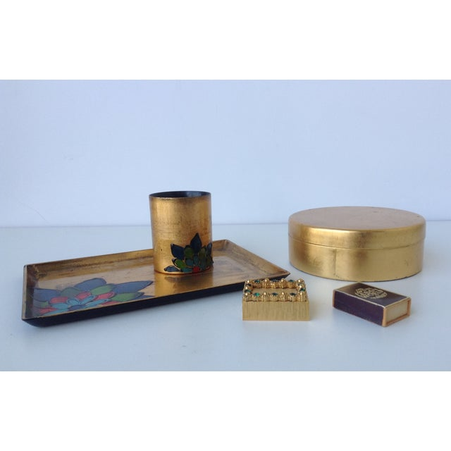 Gold Leaf Lacquered Smoke & Coaster Set For Sale - Image 11 of 11