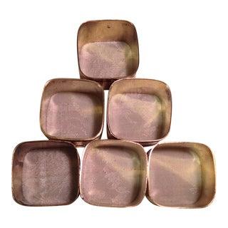 Mid-Century Modern Square Brass Napkin Rings - Set of 6