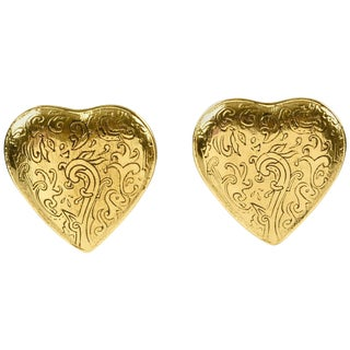 Yves Saint Laurent Paris Signed Clip on Earrings Gilt Metal Heart For Sale
