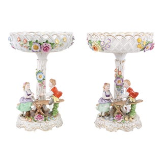 Early 20th Century German Porcelain Decorative Pieces - a Pair For Sale