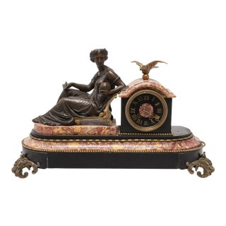 Neoclassical Bronze Mantel Clock with Astronomy Allegory For Sale