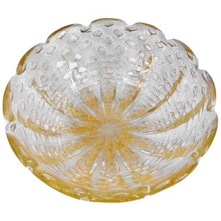Italian Barovier Murano Glass Clear and Gold Bullicante Bowl