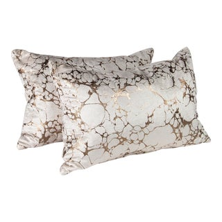 "22"" X 14"" Black Edition Marmori Velvet Pillows by Romo, Pair For Sale"