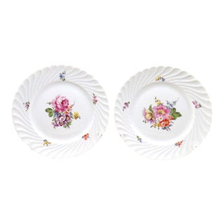 Vintage Nymphenburg Dresden Flowers Dinner Plates - Set of 2