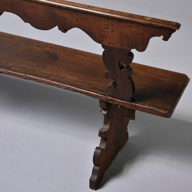 Brown 19th Century Italian Primitive Hand Carved Bench For Sale - Image 8 of 13