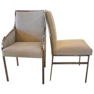 S/6 Mid Century Modern Chrome and Upholstery Pierre Cardin Dining Chairs / Side Chairs