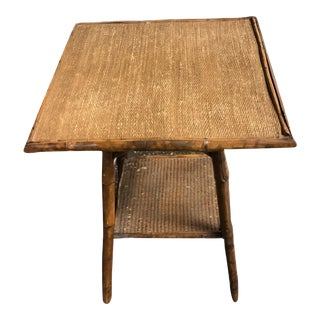 Vintage Burnt Bamboo Side Table For Sale