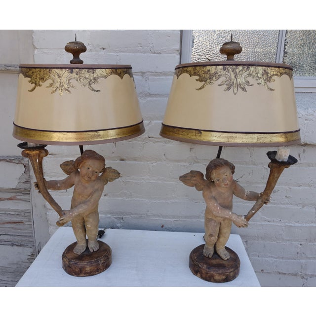 Paper Pair of 19th C. Italian Cherub Lamps W/ Parchment Shades For Sale - Image 7 of 7