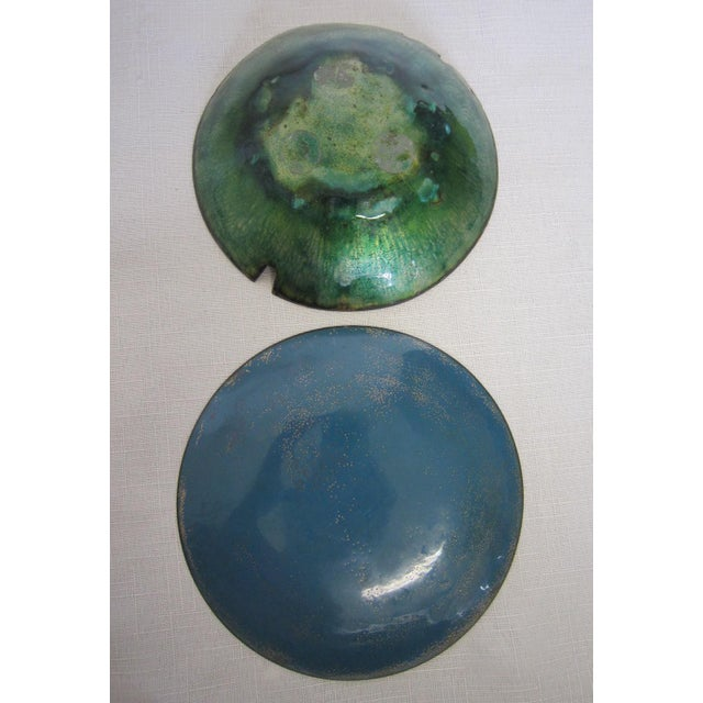 Blue Boho Chic Copper Bowls - A Pair For Sale - Image 5 of 5