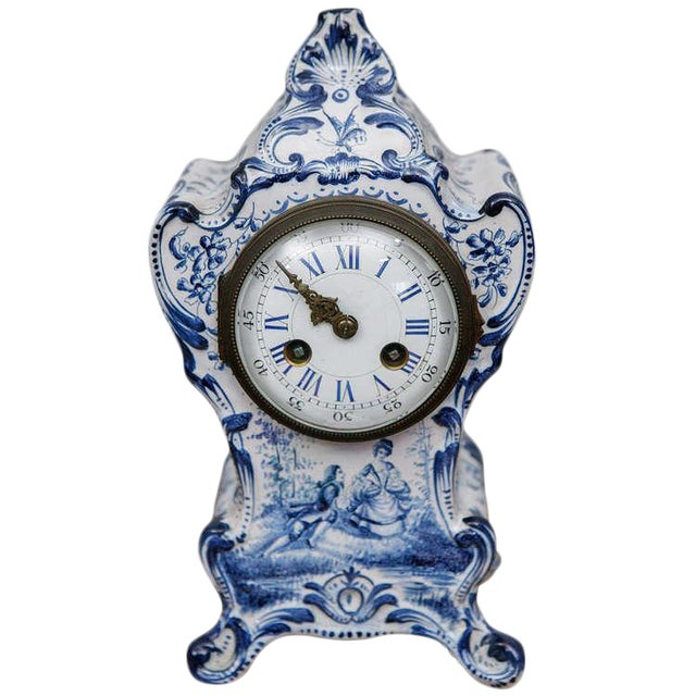 Blue and White French Shelf Clock For Sale
