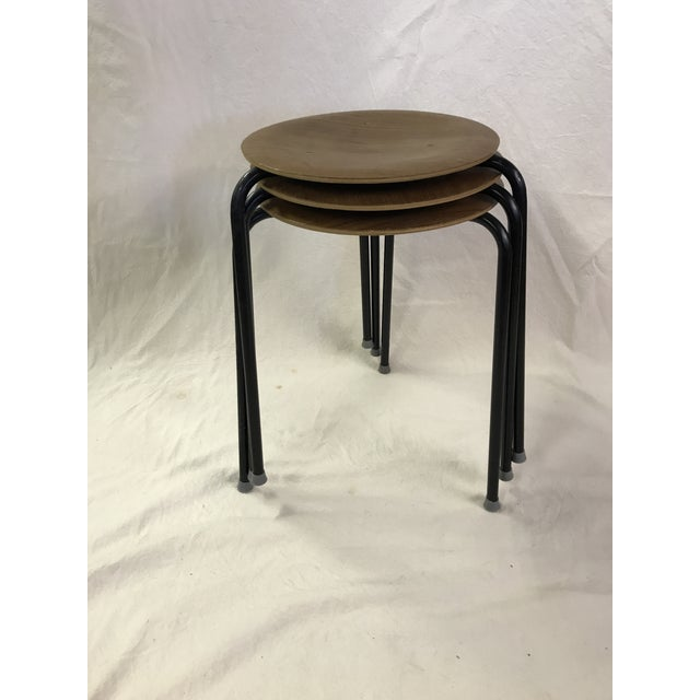Danish Dot Stools in the Style of Arne Jacobsen - Set of 3 For Sale - Image 10 of 11