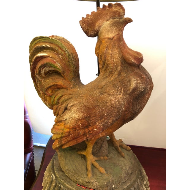 Red Dramatic Rooster Lamps From Montana Lodge With Shades - a Pair For Sale - Image 8 of 13